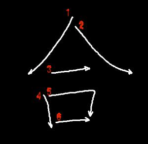 """Jouyou Kanji """"合"""" Stroke Order"""