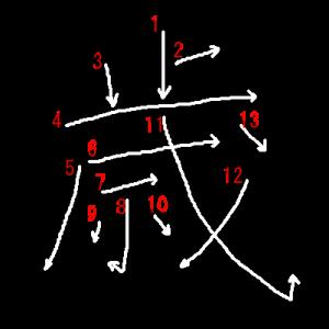 """Jouyou Kanji """"歳"""" Stroke Order"""