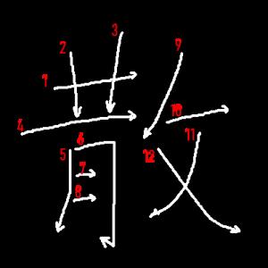 """Jouyou Kanji """"散"""" Stroke Order"""