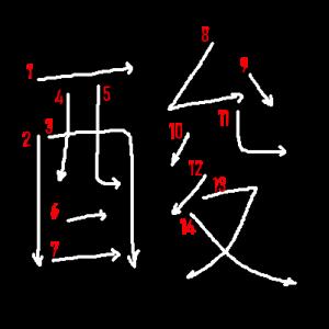 """Jouyou Kanji """"酸"""" Stroke Order"""