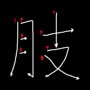 """Jouyou Kanji """"肢"""" Stroke Order"""