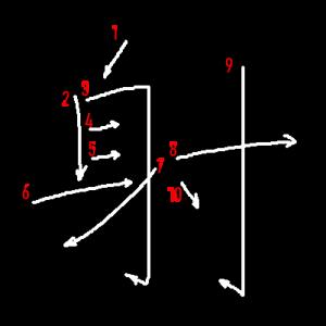 """Jouyou Kanji """"射"""" Stroke Order"""