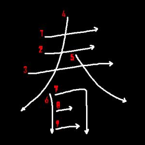 """Jouyou Kanji """"春"""" Stroke Order"""