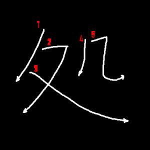 """Jouyou Kanji """"処"""" Stroke Order"""