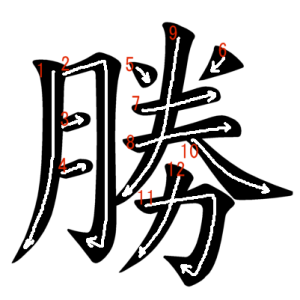 """Jouyou Kanji """"勝"""" Stroke Order"""