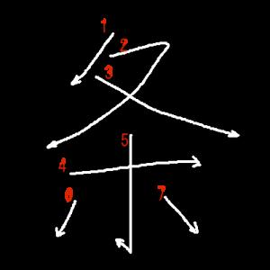 """Jouyou Kanji """"条"""" Stroke Order"""