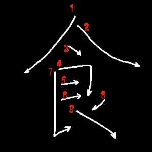 """Jouyou Kanji """"食"""" Stroke Order"""