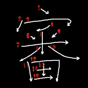 """Jouyou Kanji """"審"""" Stroke Order"""