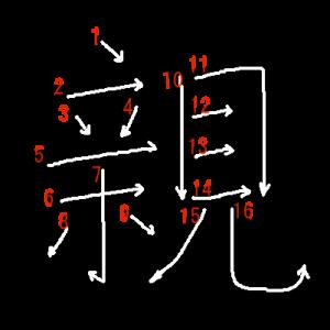 """Jouyou Kanji """"親"""" Stroke Order"""