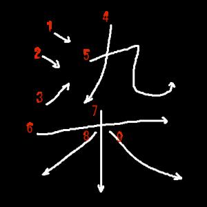 """Jouyou Kanji """"染"""" Stroke Order"""
