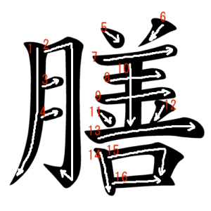 """Jouyou Kanji """"膳"""" Stroke Order"""