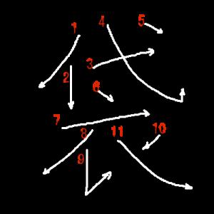"""Jouyou Kanji """"袋"""" Stroke Order"""