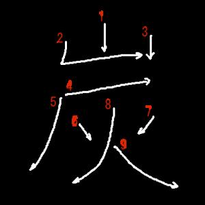 """Jouyou Kanji """"炭"""" Stroke Order"""