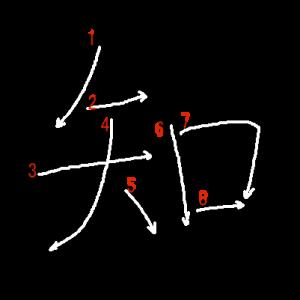"""Jouyou Kanji """"知"""" Stroke Order"""