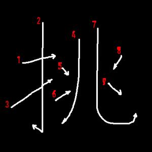 """Jouyou Kanji """"挑"""" Stroke Order"""