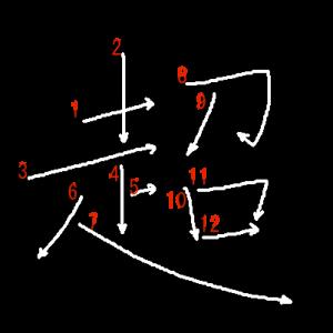 """Jouyou Kanji """"超"""" Stroke Order"""