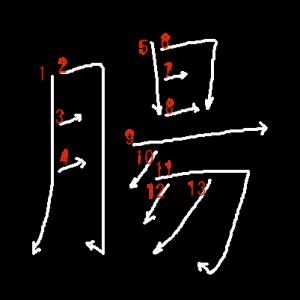 """Jouyou Kanji """"腸"""" Stroke Order"""