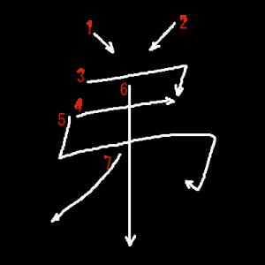 """Jouyou Kanji """"弟"""" Stroke Order"""
