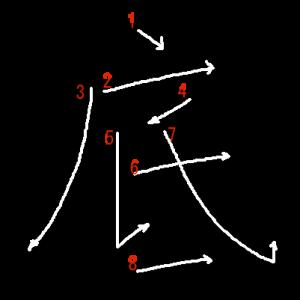 """Jouyou Kanji """"底"""" Stroke Order"""