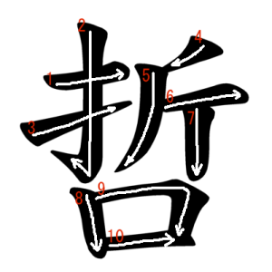 """Jouyou Kanji """"哲"""" Stroke Order"""