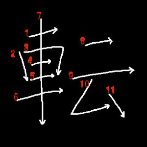 """Jouyou Kanji """"転"""" Stroke Order"""