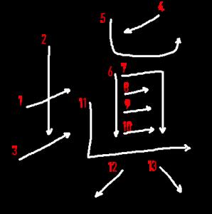 """Jouyou Kanji """"塡"""" Stroke Order"""