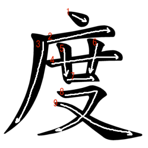 """Jouyou Kanji """"度"""" Stroke Order"""