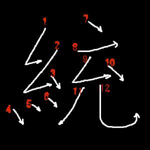 """Jouyou Kanji """"統"""" Stroke Order"""