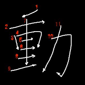 """Jouyou Kanji """"動"""" Stroke Order"""
