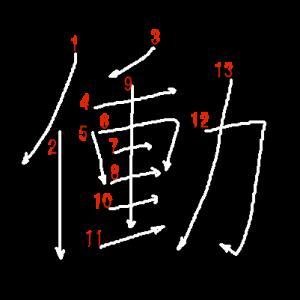 """Jouyou Kanji """"働"""" Stroke Order"""