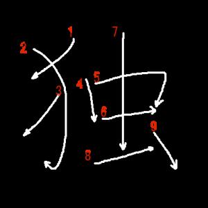 """Jouyou Kanji """"独"""" Stroke Order"""