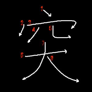"""Jouyou Kanji """"突"""" Stroke Order"""
