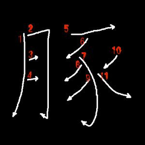 """Jouyou Kanji """"豚"""" Stroke Order"""