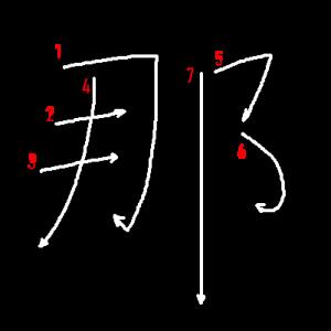 """Jouyou Kanji """"那"""" Stroke Order"""