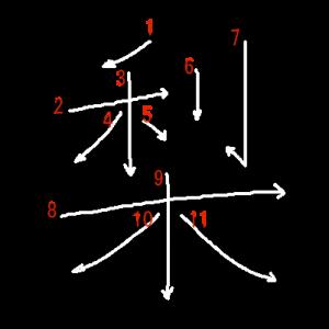 """Jouyou Kanji """"梨"""" Stroke Order"""