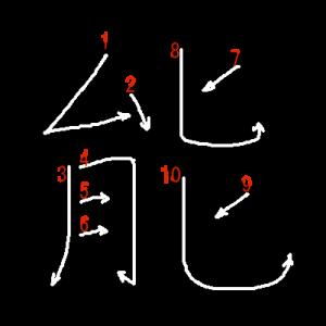 """Jouyou Kanji """"能"""" Stroke Order"""