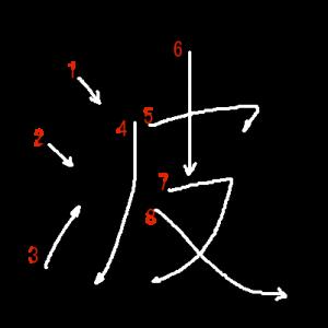 """Jouyou Kanji """"波"""" Stroke Order"""