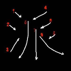 """Jouyou Kanji """"派"""" Stroke Order"""