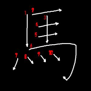 """Jouyou Kanji """"馬"""" Stroke Order"""