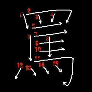 """Jouyou Kanji """"罵"""" Stroke Order"""