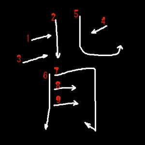 """Jouyou Kanji """"背"""" Stroke Order"""