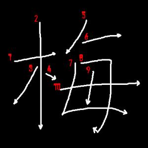 """Jouyou Kanji """"梅"""" Stroke Order"""