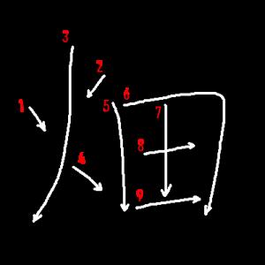 """Jouyou Kanji """"畑"""" Stroke Order"""