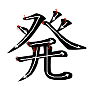 """Jouyou Kanji """"発"""" Stroke Order"""