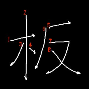 """Jouyou Kanji """"板"""" Stroke Order"""