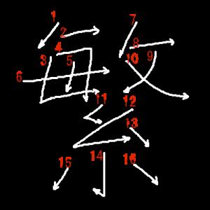 """Jouyou Kanji """"繁"""" Stroke Order"""