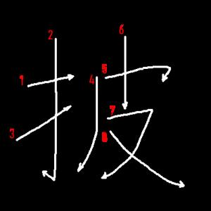 """Jouyou Kanji """"披"""" Stroke Order"""