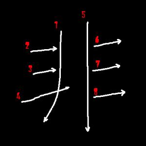 """Jouyou Kanji """"非"""" Stroke Order"""
