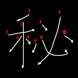 """Jouyou Kanji """"秘"""" Stroke Order"""