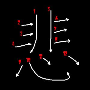 """Jouyou Kanji """"悲"""" Stroke Order"""